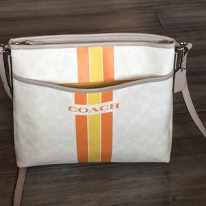 COACH cream/orange/yellow signature crossbody bag